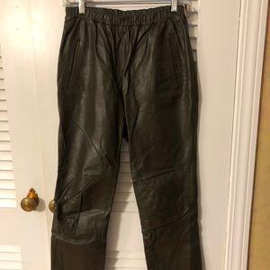 Leather pants dark green with elastic waist